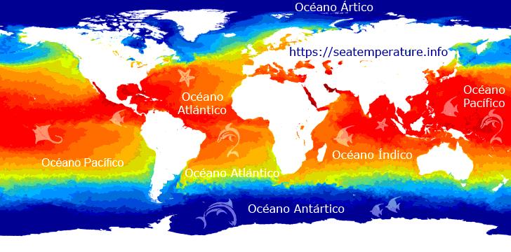 Mapa de temperatura del aqua del mar hoy